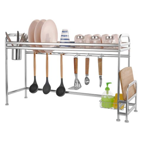 Over the Sink Dish Drying Rack Stainless Steel with Utensil Holder Hooks for Kitchen Storage - S
