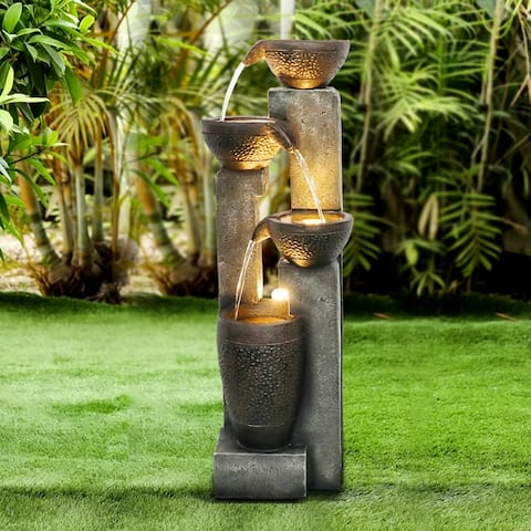 40-inch Outdoor Water Fountain Faux Stone Waterfall Features w/ Lights