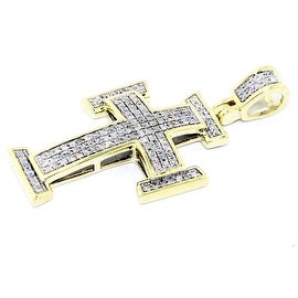 1/4cttw Diamond Cross Pendant 10K Yellow Gold 33mm Tall Pave Set(i2/i3 clarity, I/j color) By MidwestJewellery - White