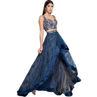 Terani Couture Organza Illusion Crop Top Dress