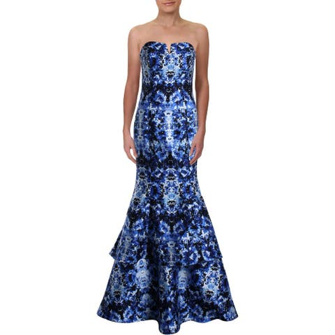 Xscape Womens Juniors Evening Dress Embellished Printed - Blue Multi