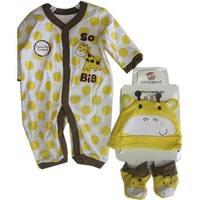 Buster Brown White Yellow Dot Hat Booties 3 Piece Bodysuit Set 0-9M