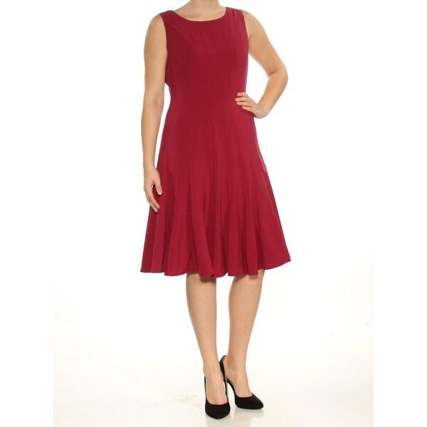 Shop Calvin Klein Womens Maroon Sleeveless Scoop Neck Knee