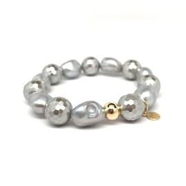 Grey Baroque Pearl 'Grace' stretch bracelet 14k Over Sterling Silver