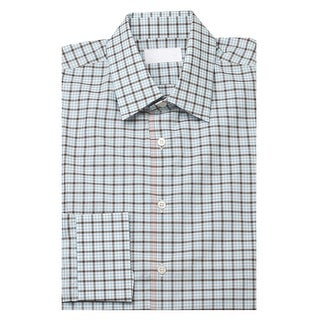 Prada Men's Spread Collar Plaid Cotton Dress Shirt Blue