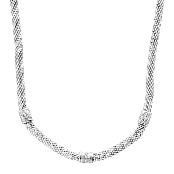 1/10 ct Diamond Station Mesh Cage Necklace in Sterling Silver