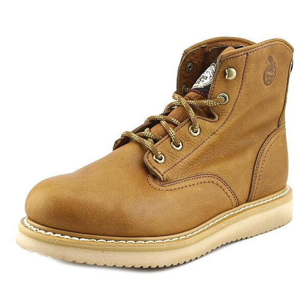 "Georgia G6342 6"" Wedge Men Steel Toe Leather Brown Work Shoe"