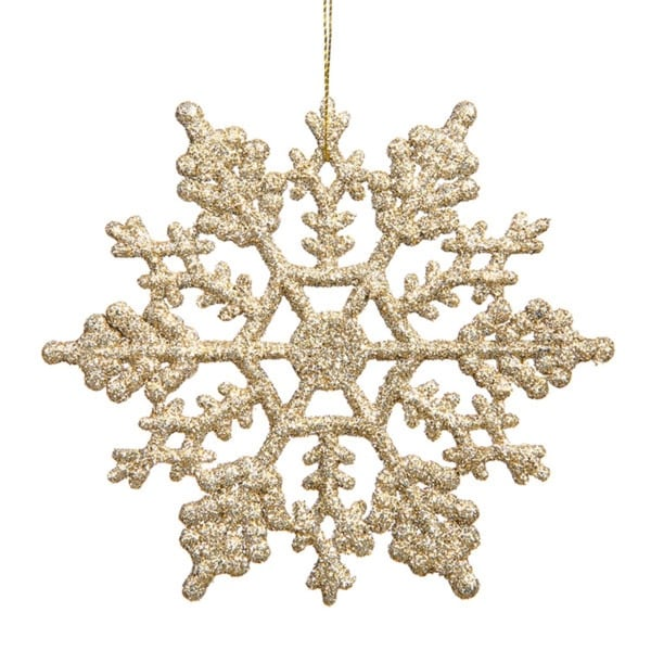 Club Pack of 24 Champagne Glitter Snowflake Christmas Ornaments 4""