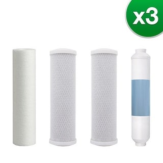 Watts Premier 5 Stage RO (Reverse Osmosis) Replacement Water Filter Kit for WP-5 Without RO Membrane (3 Pack)