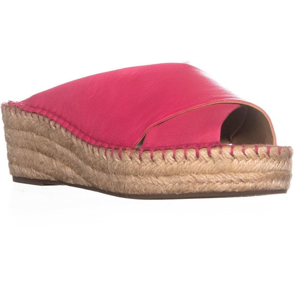 Franco Sarto Polina Espadrille Wedge Sandals, Hot Pink Leather - 8.5 w us
