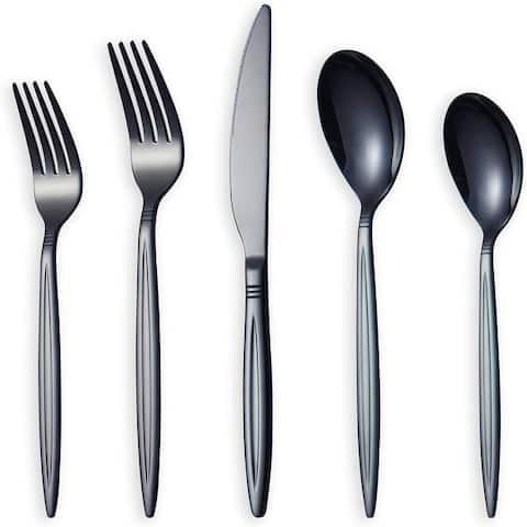 20 Piece Black Silverware Set, Stainless Steel Flatware Set, Titanium Black Cutlery Set, Service Set for 4 (Shiny Black)