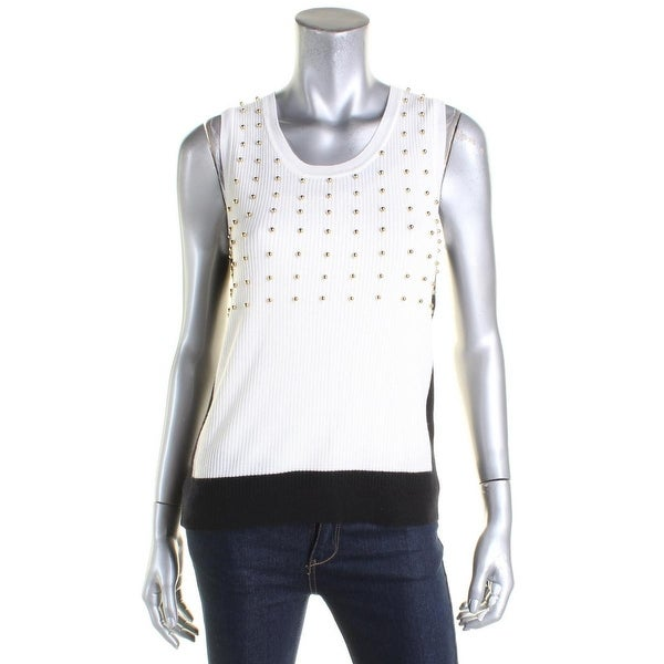 Shop Elie Tahari Womens Pullover Sweater Sleeveless Embellished S