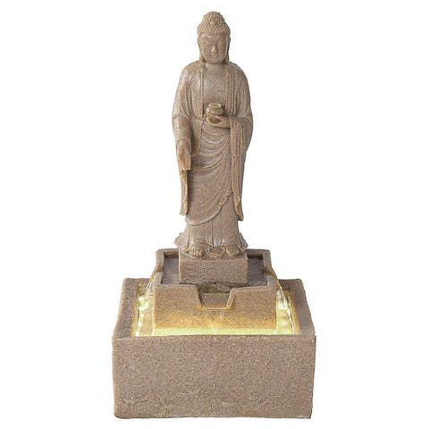 Design Toscano Earth Witness Buddha Illuminated Garden Fountain: Medium