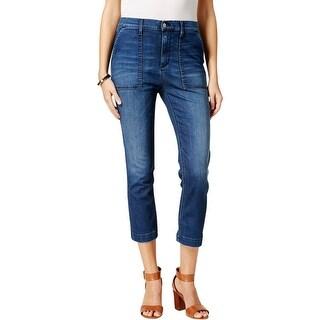 Buffalo David Bitton Womens Cropped Jeans Dark Wash Comfort Waist