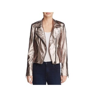 Blank NYC Womens Moto Coat Metallic Asymmetrical - S