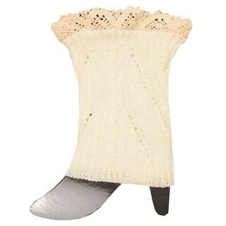 Fashion Knitting Women Ivory Cream Crochet Trim Detail Knit Leg Warmers