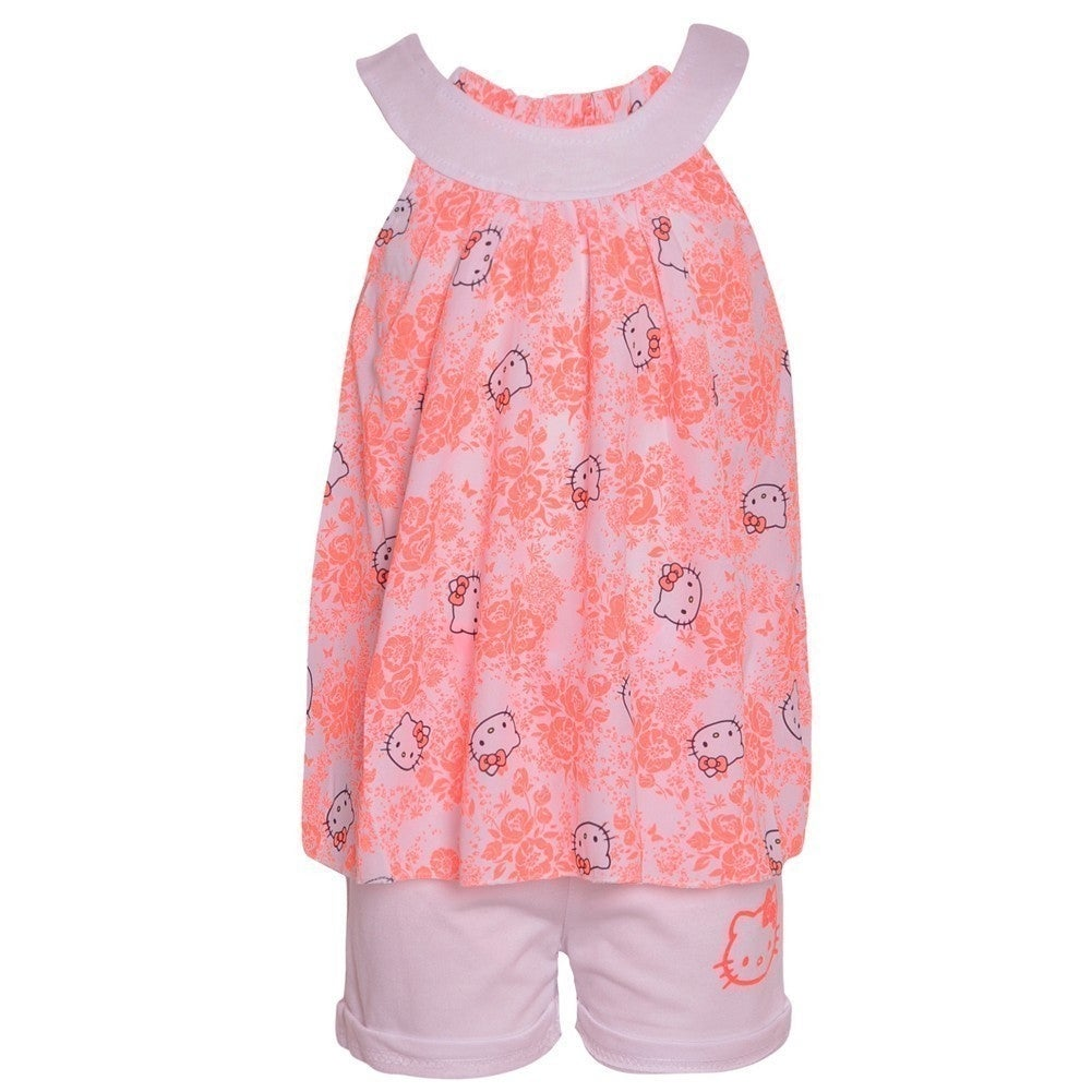 Hello Kitty Little Girls Fuchsia Blue Sparkle Applique 2 Pc Shorts Set 4-6X