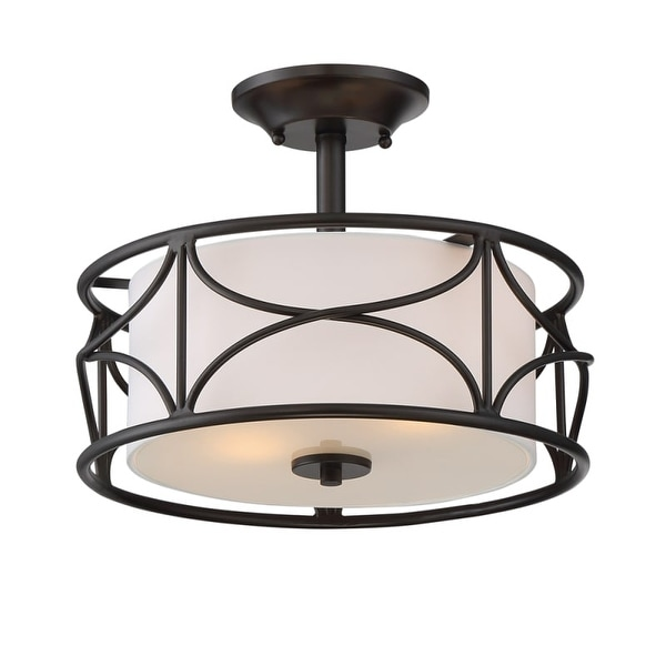 """Designers Fountain 88611-ORB Avara 2 Light 13"""" Wide Ceiling Fixture with Fabric Shade"""