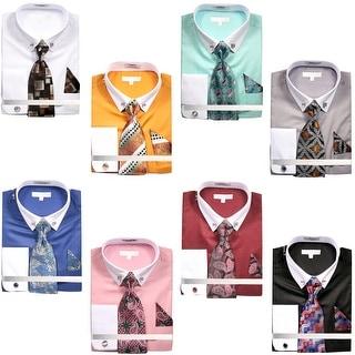 Men's Solid Dress Shirt with Collar Bar and Tie Handkerchief Cufflinks