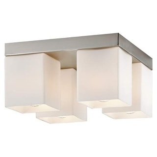 "Forecast Lighting F445336 4 Light 10.5"" Wide Flush Mount Ceiling Fixture from the Vancouver Island Collection - Satin Nickel"