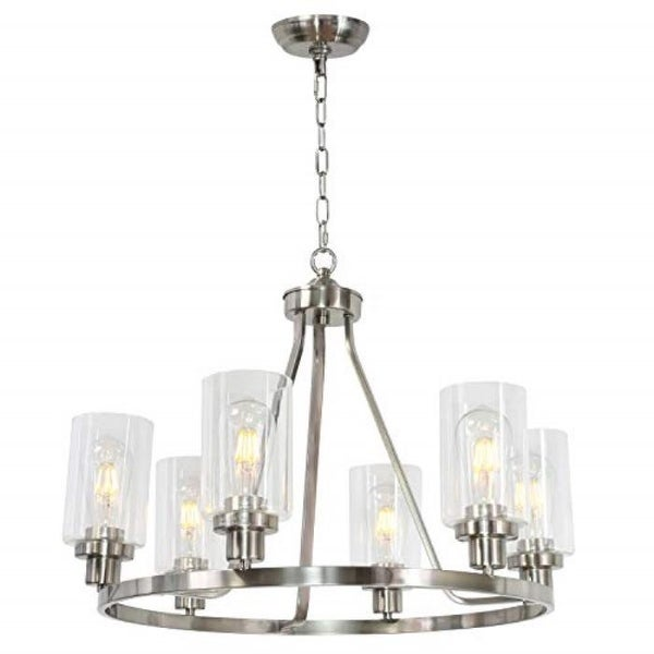 6 light island glass round chandelier with rubbed nickel finish. Opens flyout.