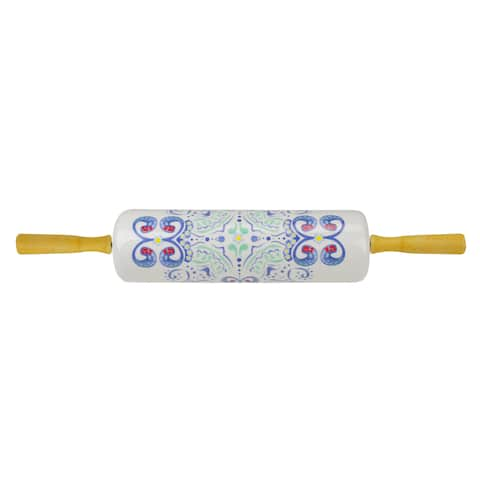 Blue and Green Ceramic Rolling Pin with Wood Handles, 18-Inch - N/A