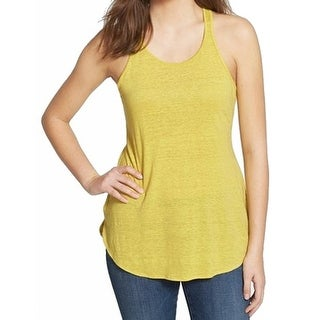 THE FISHER PROJECT NEW Yellow Women's Size Medium M Racerback Tank Top