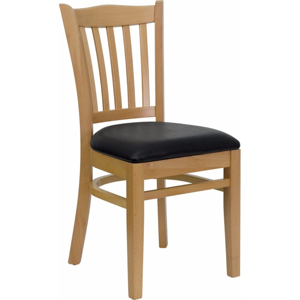 Shop Offex HERCULES Series Natural Wood Finished Vertical Slat Back Wooden  Restaurant Chair   Black Vinyl Seat   Free Shipping Today   Overstock    19965718