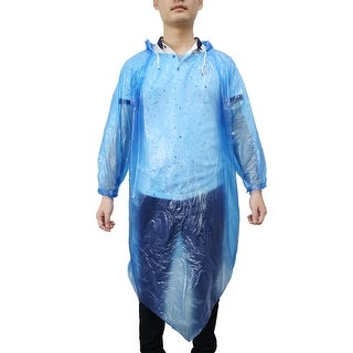 Blue Adult Disposable Hooded Pullover Raincoat Rain Poncho for Camping Travel