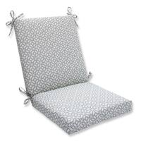 """36.5"""" Pebble Geometric Star Outdoor Patio Chair Cushion with Ties - White"""
