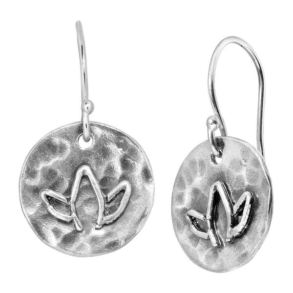 Finecraft Hammered Lotus Flower Drop Earrings in Sterling Silver - White