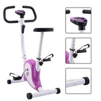 Goplus Exercise Bike Stationary Cycling Fitness Cardio Aerobic Equipment Gym Purple