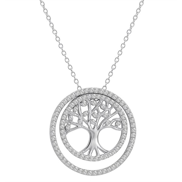 Amanda Rose 3-in-1 CZ Tree of Life Pendant-Necklace in Sterling Silver on a 18 in. Chain