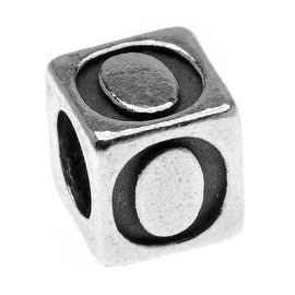 Sterling Silver, Alphabet Cube Bead Letter 'O' 4.5mm, 1 Piece, Antiqued
