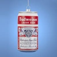 "Pack of 6 Budweiser Lager Beer Can Glass Christmas Ornament 3"" - WHITE"
