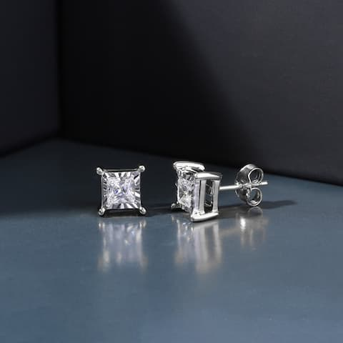 1/20ct - 3/4ct TDW Princess Cut Diamond Solitaire Stud Earrings in Silver by De Couer