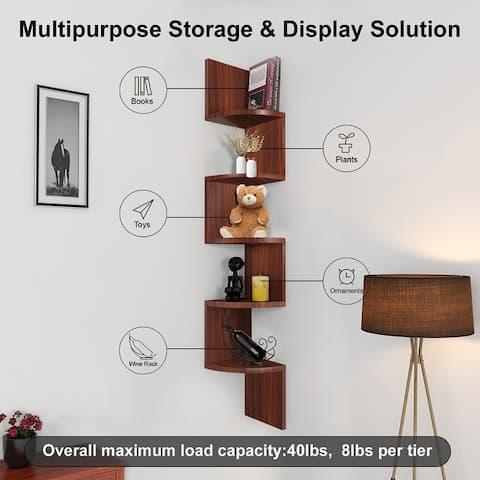 NOVA FURNITURE 5 Tiers Floating Teen Wall Mount Corner Pantry Storage & Organization shelf, Home Decor Display Shelves for Small