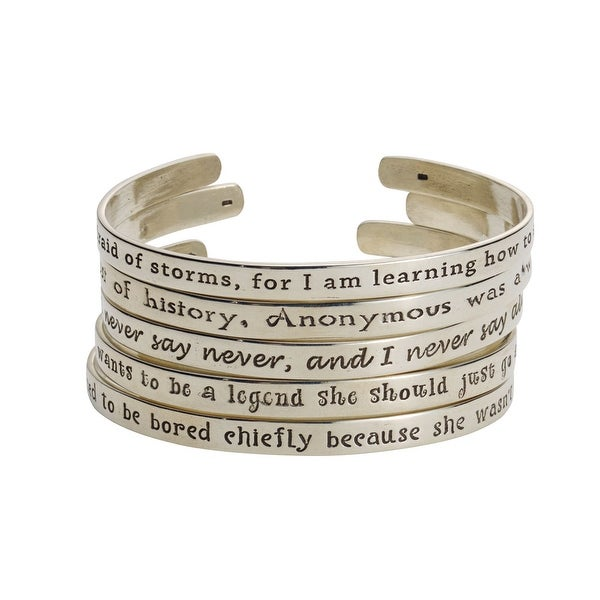 Women's Famous Women's Quotes Cuff Bracelet - If You Obey - Katharine Hepburn - Silver