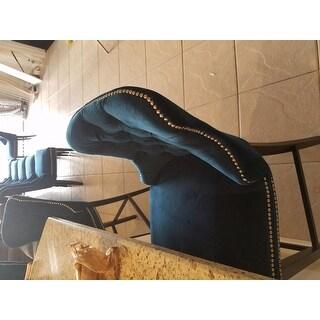Shop Abbyson Versailles 30 Inch Navy Blue Tufted Bar Stool