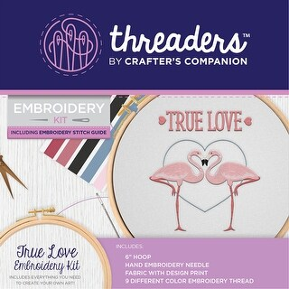 "Crafter's Companion Threaders Embroidery Kit 6""X6""-True Love"