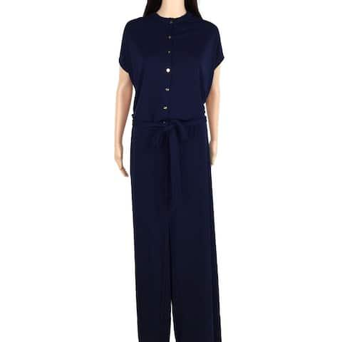 Lauren by Ralph Lauren Womens Jumpsuit Blue Size 1X Plus Frill-Trim