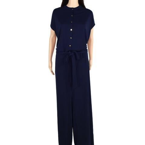 Lauren by Ralph Lauren Womens Jumpsuit Blue Size 2X Plus Frill-Trim