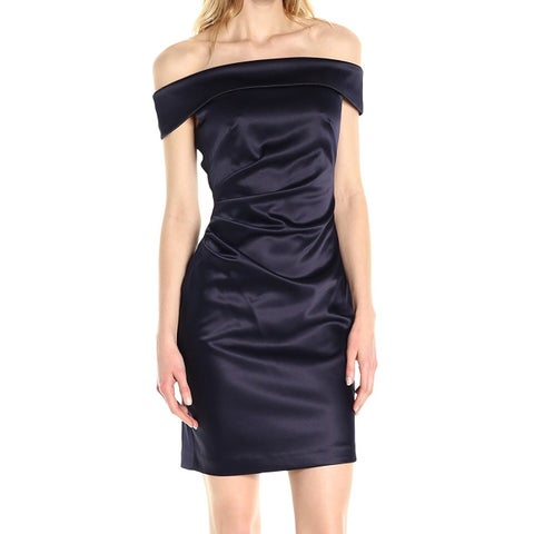 Eliza J Blue Women's Size 12 Satin Off-Shoulder Sheath Dress