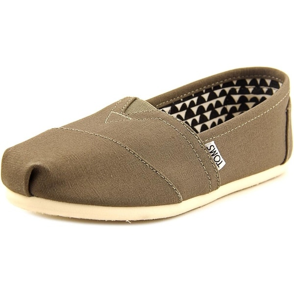 Toms Classic Women Round Toe Canvas Brown Loafer