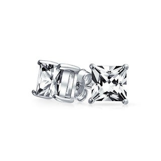 Bling Jewelry Unisex Square CZ Princess Cut Stud earrings 925 Sterling Silver 7mm