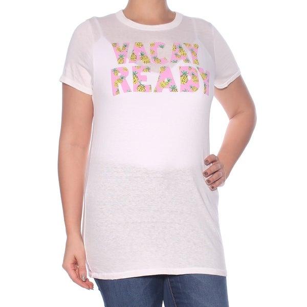 JUNK FOOD Womens Ivory Printed Short Sleeve Jewel Neck T-Shirt Top Size: L
