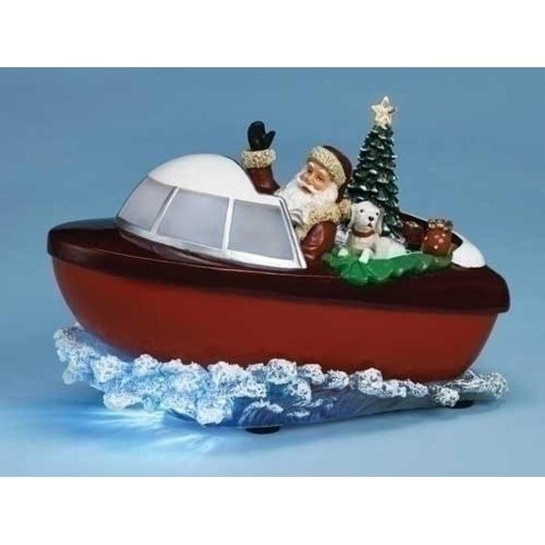 "9.5"" Musical Lighted Santa Claus and Tree in Boat Christmas Decoration"