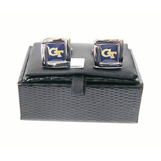 NCAA Georgia Tech Yellow Jackets Square Cufflinks with Square Shape Logo Design Gift Box Set