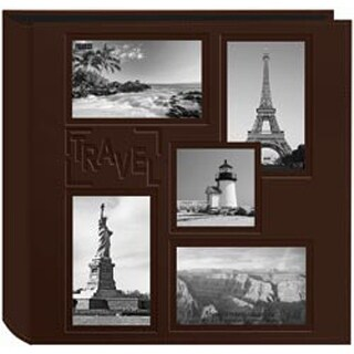 """Travel - Sewn Embossed Collage Frame 5-Up Photo Album 12""""X12"""""""