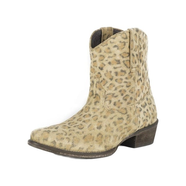 Roper Western Boots Womens Leopard Ankle Boots Tan